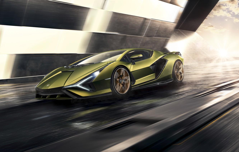Фото обои машина, движение, Lamborghini, суперкар, гибридный, Sián