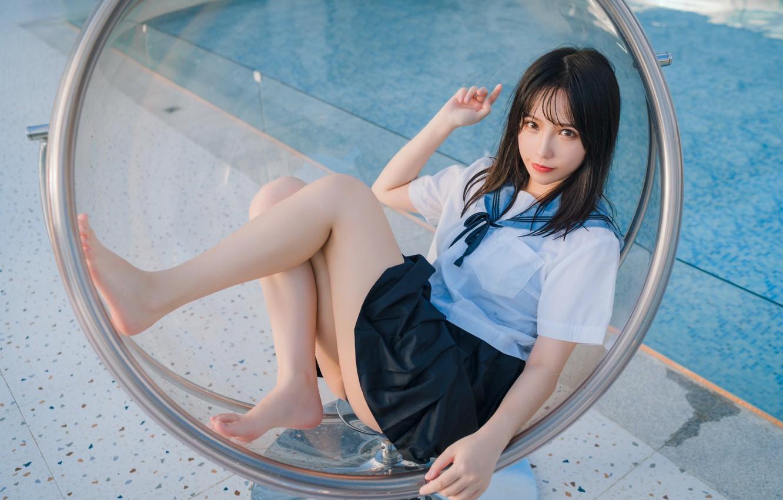 Фото обои pool, legs, model, chair, asian, babe, photoshoot, skirt, uniform, chic, barefeet