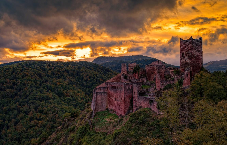 Фото обои Sunset, France, Saint-Ulrich Castel