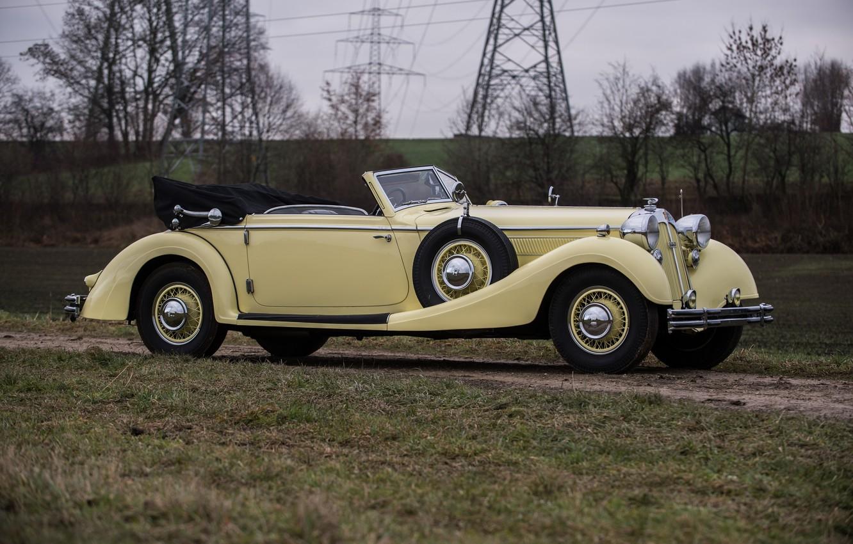 Фото обои старина, ретро, сбоку, раритет, бежевый, Sport, Cabriolet, Horch, 853, 1935–37