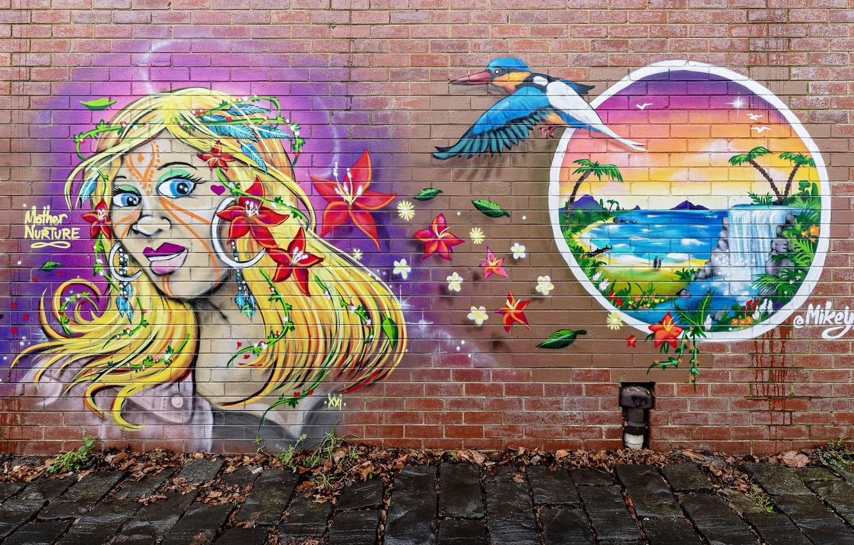 Фото обои город, улица, граффити