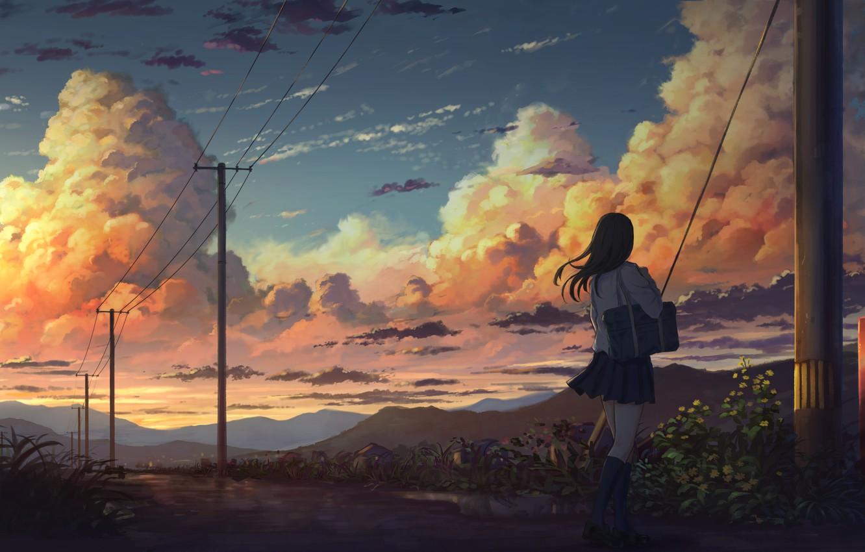 Фото обои Облака, Девушка, Вечер