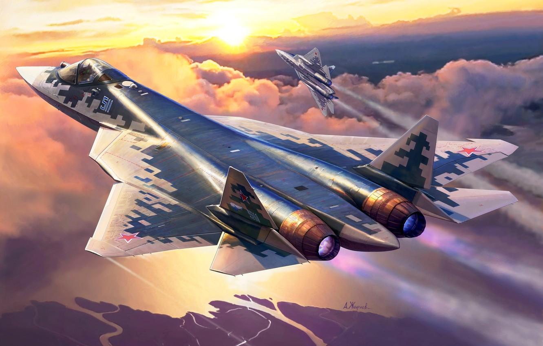 Фото обои Рассвет, Пара, полёт, Россия, ВКС России, истребитель пятого поколения, Су-57