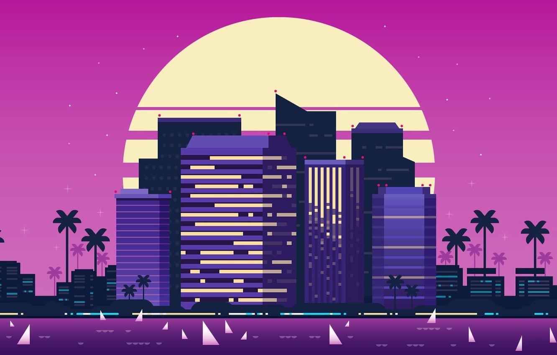 Фото обои Солнце, Музыка, Город, Стиль, Здания, Фон, 80s, Style, Illustration, 80's, Synth, Retrowave, Synthwave, New Retro …