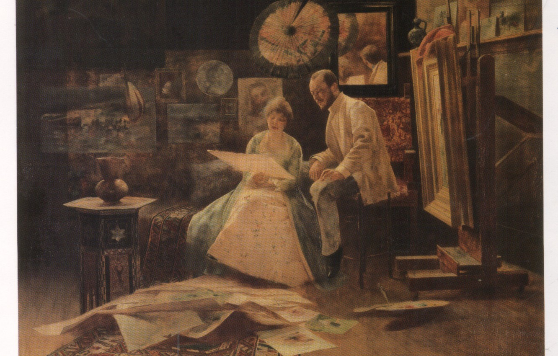 Фото обои The Studio Oil Painting, венгерская живопись, Bertalan Karlovszky