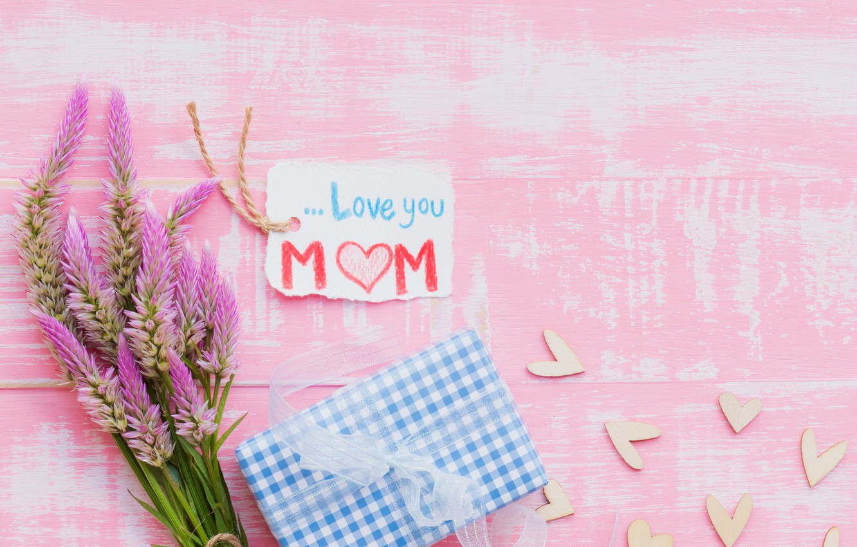 Фото обои любовь, цветы, подарок, сердце, love, wood, pink, flowers, hearts, gift, mother's Day