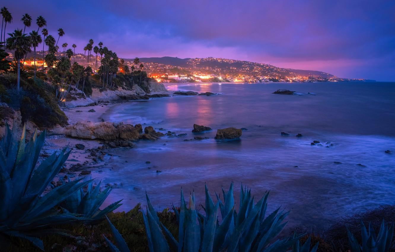 Фото обои lights, USA, ocean, night, Laguna Beach