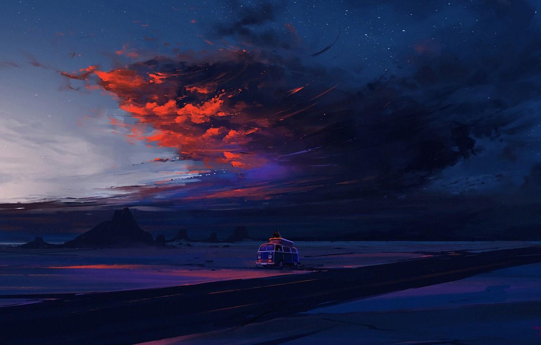 Фото обои twilight, road, sky, desert, landscape, nature, sunset, night, art, clouds, mountain, rocks, stars, evening, dusk, …