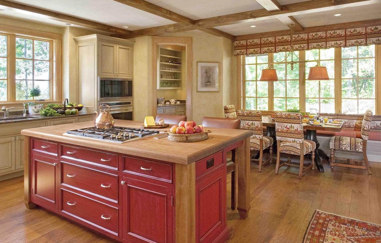 Фото обои интерьер, кухня, столовая, kitchen with lights vintage