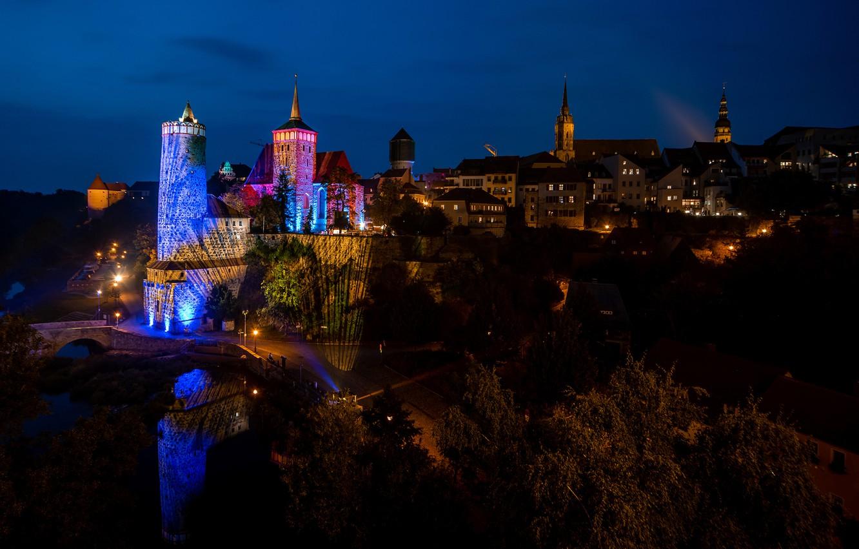 Обои ночь, канал, дома, Luneburgo, фонари, германия, saxony. Города foto 7