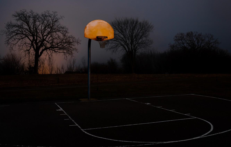 Фото обои ночь, спорт, баскетбол, площадка