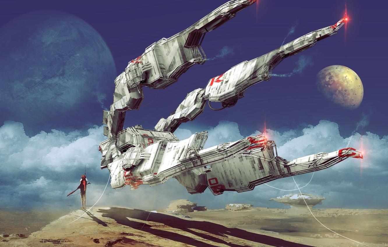 Фото обои Человек, Планеты, Fantasy, Арт, Art, Космический Корабль, Поверхность, Фантастика, Concept Art, Spaceship, Vehicles, Science Fiction, ...