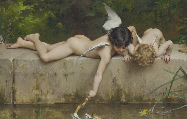 Фото обои Спасение, французский живописец, Emile Munier, 1894, French painter, oil on canvas, Эмиль Мюнье, Un sauvetage, …