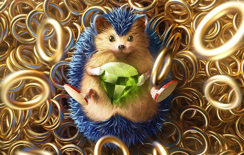 Фото обои Игра, Соник, Арт, Art, Кольца, Rings, Digital Art, Алмаз, Sonic, Fan Art, Characters, Ёж Соник, ...