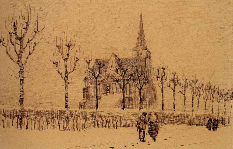 Фото обои деревья, дом, люди, Landscape, Винсент ван Гог, with a Church 2