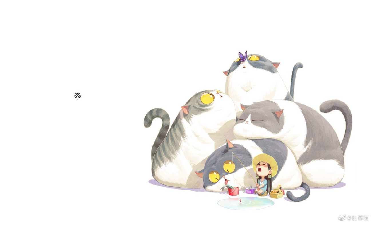 Фото обои бабочка, рыбалка, рыбка, шляпа, белый фон, зевает, удочка, желтые глаза, маленькая девочка, хвосты, ведёрко, четыре …