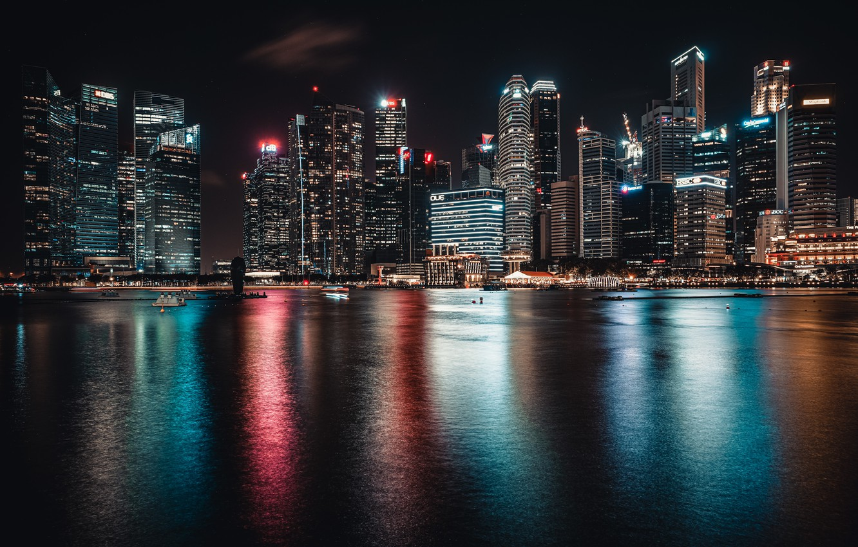 Фото обои ночь, город, огни, Сингапур