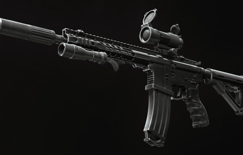 Фото обои рендеринг, оружие, фонарик, винтовка, weapon, render, глушитель, custom, м16, ar-15, assault rifle, m16, assault Rifle, …