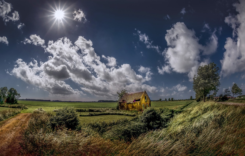 Фото обои поле, лето, небо, дом