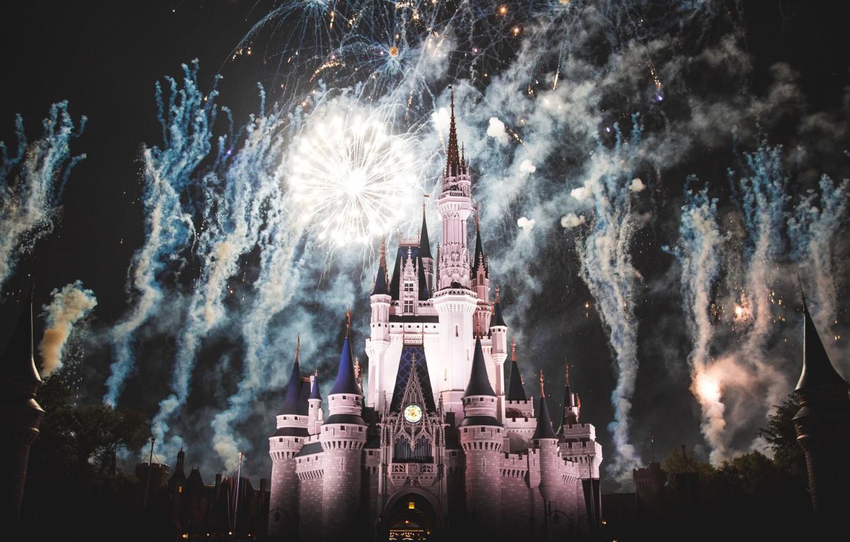 Фото обои замок, Франция, Париж, Ночь, фейерверк, Paris, Диснейленд, France, castle, Disneyland, Cinderella castle, disney world