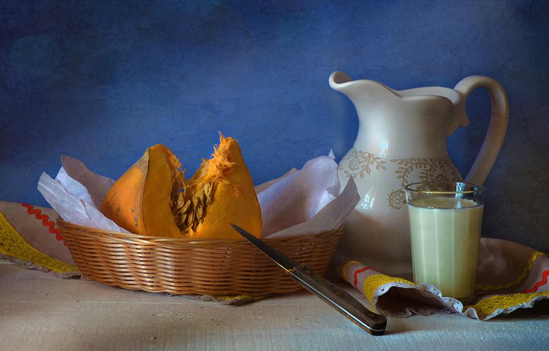 Фото обои стакан, корзина, молоко, нож, посуда, тыква, натюрморт, салфетка, молочник