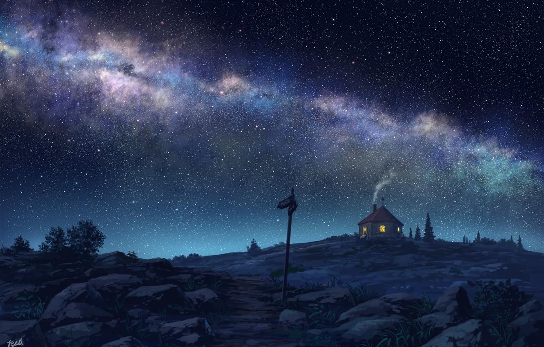 Фото обои ночь, дом, млечный путь, звёздное небо