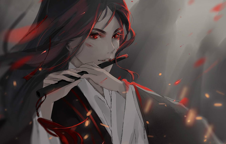 Фото обои туман, руки, искры, флейта, красные глаза, длинные волосы, ссадина, Mo Dao Zu Shi, Магистр дьявольского …