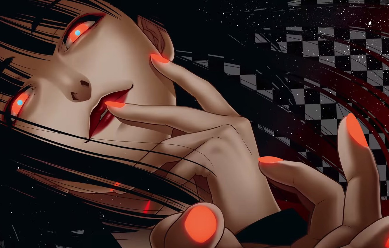 Фото обои красные глаза, безумие, адская ухмылка, физиономия, Kakegurui, Yumeko Jabami, Безумный азарт
