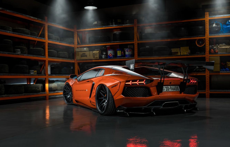 Фото обои Lamborghini, tuning, garage, Aventador, Liberty Walk, LB Performance