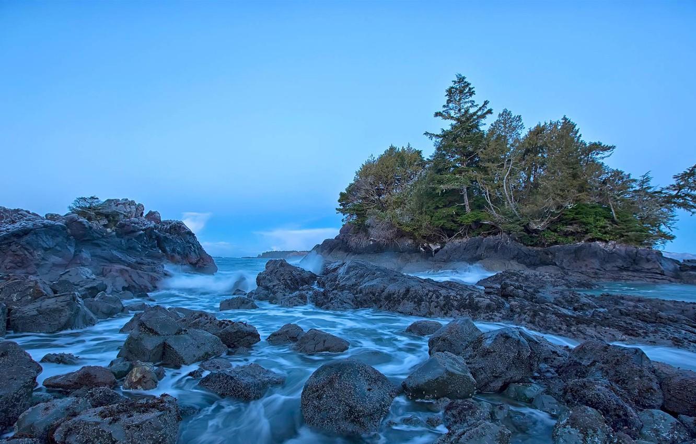 Фото обои море, деревья, скалы, Канада, остров Ванкувер