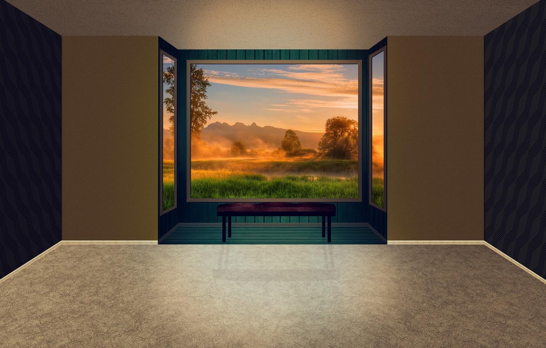 Фото обои закат, комната, окно в природу, легкая грусть