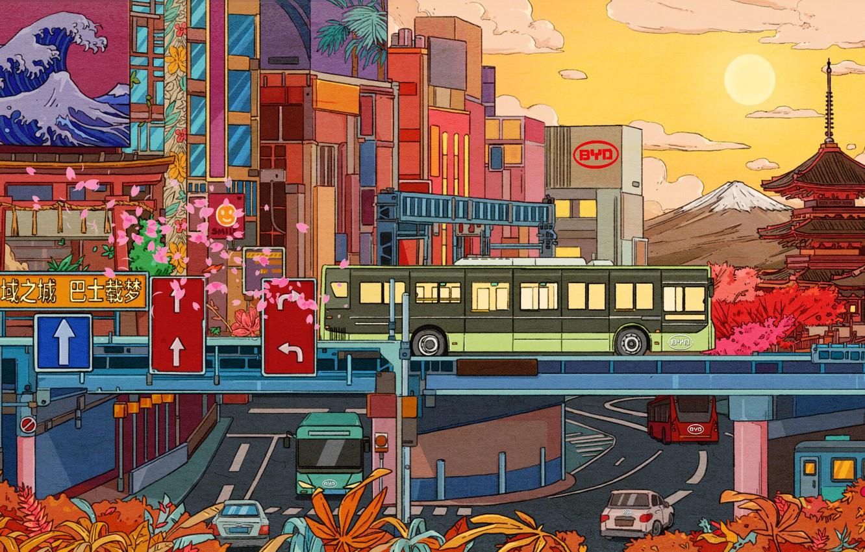 Фото обои Солнце, Город, Стиль, City, Автобус, Fantasy, Архитектура, Арт, Cars, Art, Style, Illustration, Транспорт, Иллюстрация, Transport …