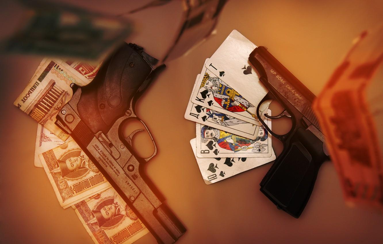 Фото обои карты, деньги, 2 ствола
