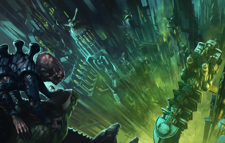 Фото обои город, корабль, Warhammer 40 000, ксенос, генокрад