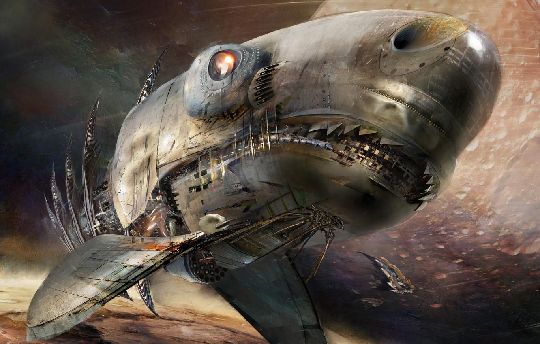Фото обои Космос, Акула, Shark, Fantasy, Арт, Space, Art, Космический Корабль, Фантастика, Daniel Dociu, Spaceship, Space Ships, …