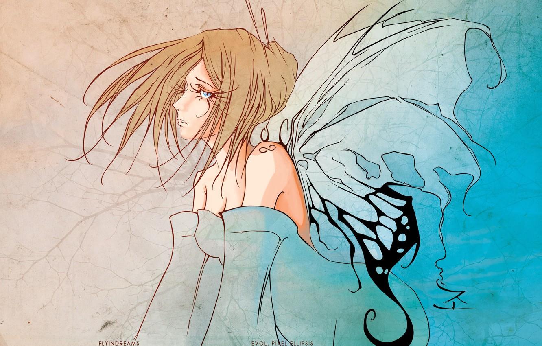 Фото обои ресницы, фея, декольте, голубые глаза, плечи, крылья бабочки, девушка-бабочка