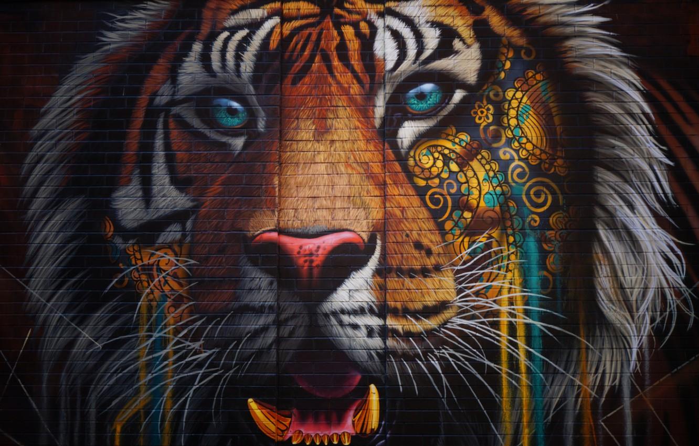 Фото обои colorful, wall, Tiger, texture, bricks, animal, artwork, wild cat, street art, fangs, ornamented