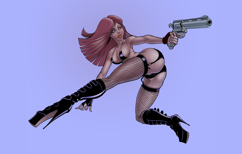 Фото обои девушка, поза, пистолет, фон