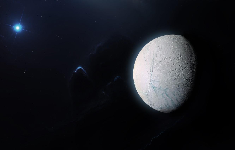 Фото обои Звезды, Космос, Туманность, Fantasy, Арт, Stars, Space, Art, Спутник, Фантастика, Nebula, Enceladus, Satellite, Энцелад, StarkitecktDesigns, …