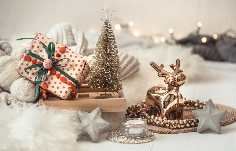 Фото обои украшения, Рождество, Новый год, new year, Christmas, винтаж, winter, свитер, bokeh, decoration, cozy