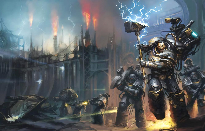 Фото обои книга, Warhammer, космодесант, space marines, Вархаммер, book, Железные Руки, Iron Hands, примарх, primarch, Ferrus Manus: …