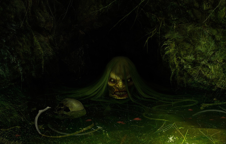 Фото обои болото, арт, кикимора, фЭнтези, Daniel Jiménez Villalba, Jenny Greenteeth
