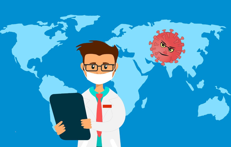 Фото обои предупреждение, карта, распространение, вирус, коронавирус