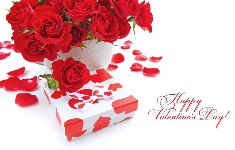 Фото обои цветы, праздник, подарок, романтика, розы, красные, бант, Valentine's Day, День Святого Валентина