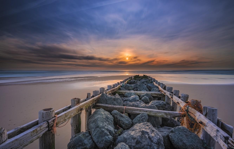 Фото обои море, закат, мост, берег