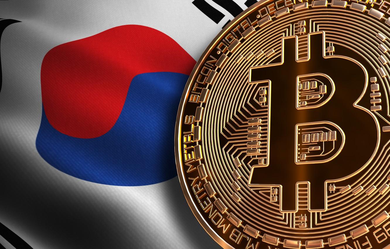Фото обои флаг, flag, южная корея, south korea, bitcoin, биткоин, btc