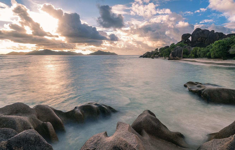 Фото обои пляж, пейзаж, закат, Море