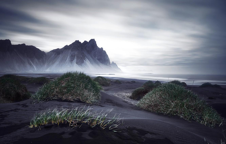 Обои берег, море, Vestrahorn Islande. Природа foto 6