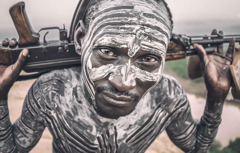 Фото обои Ethiopia, Omo Valley, Karo man