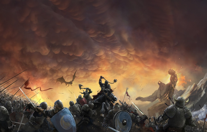 Фото обои Небо, Дракон, Война, Доспехи, Тучи, Бой, Солдаты, Рыцари, Битва, Fantasy, Clouds, Sky, Dragon, Фантастика, War, ...